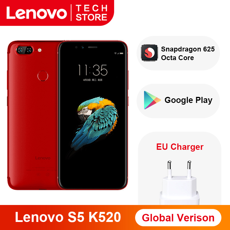 Global Version Lenovo S5 K520 Smartphone 4GB RAM 64GB  Snapdragon 625 Octa Core Fingerprint Face ID Dual Rear 13MP Google Play
