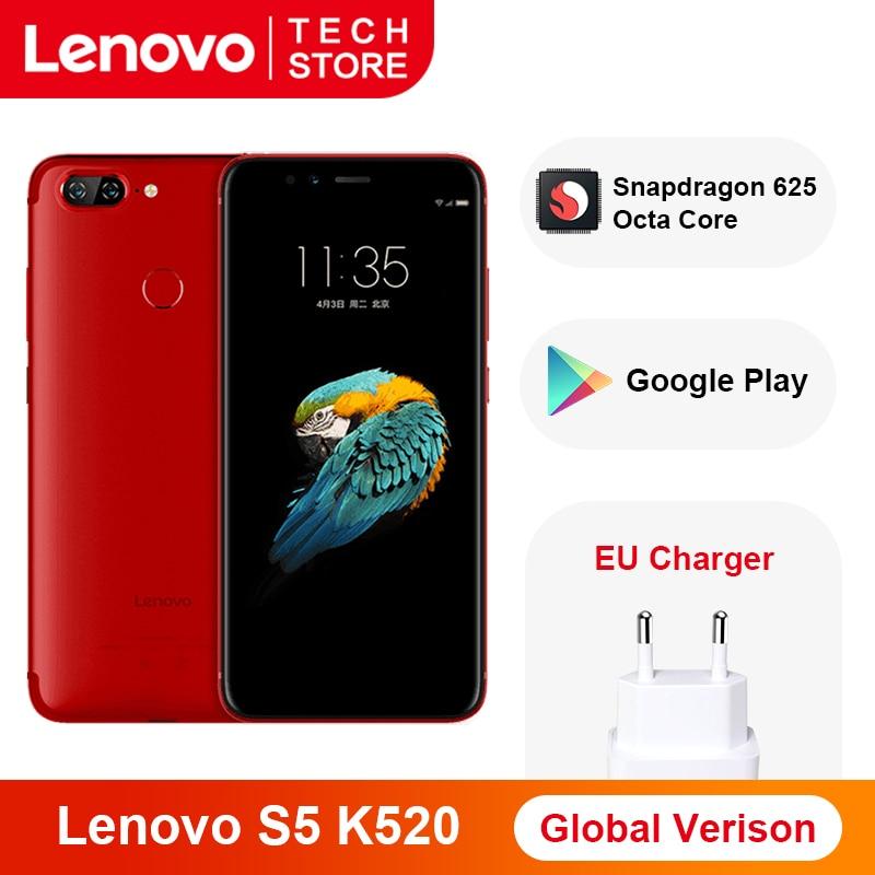 Versão global lenovo s5 k520 smartphone 4 gb ram 64 gb snapdragon 625 octa núcleo impressão digital face id traseira dupla 13mp google play