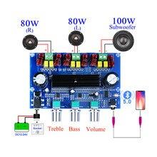 Placa de amplificador potencia Subwoofer Bluetooth 100, 2x80W + 5,0 W TPA3116D2 2,1 canales TPA3116 ecualizador de Audio estéreo AUX Clase D Amp