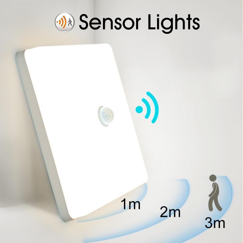 PIR Sensor Light 48W 36W 24W 18W 13W 9W Modern Surface Mount Ceiling Lamp Fixture for Living Room Kitchen Foyer Ceiling Light