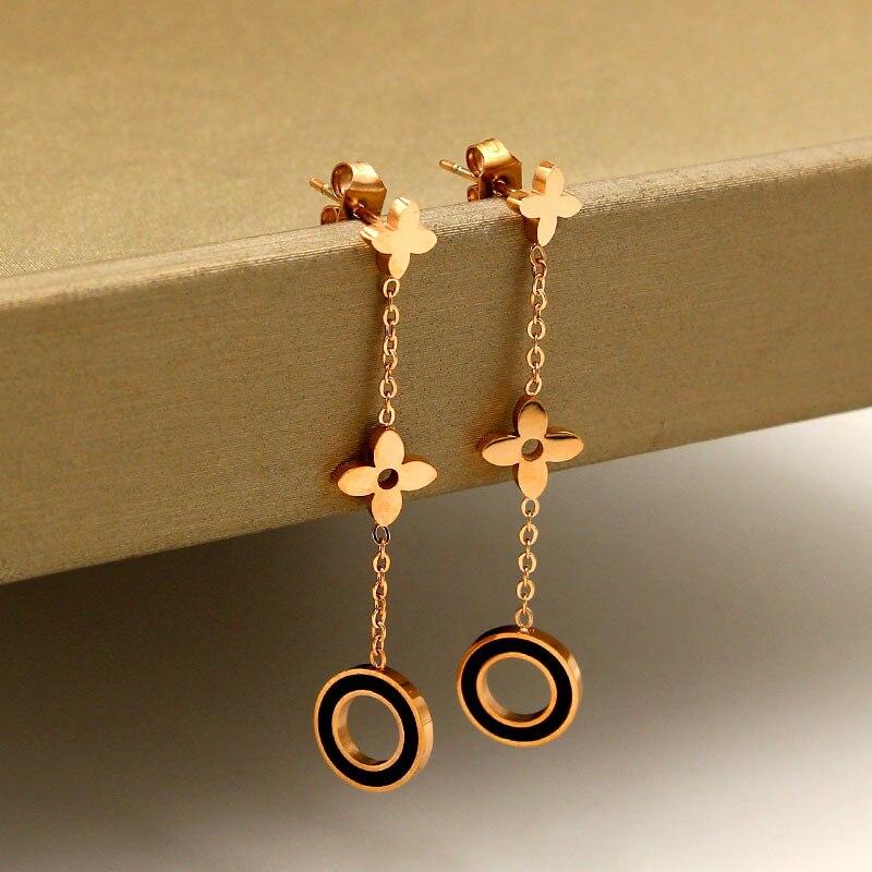 earrings 2020 Stainless Steel Rose Gold Flower Drop Earrings For Women aretes mujer Hollow Out Rond Black Earrings Friend Gift