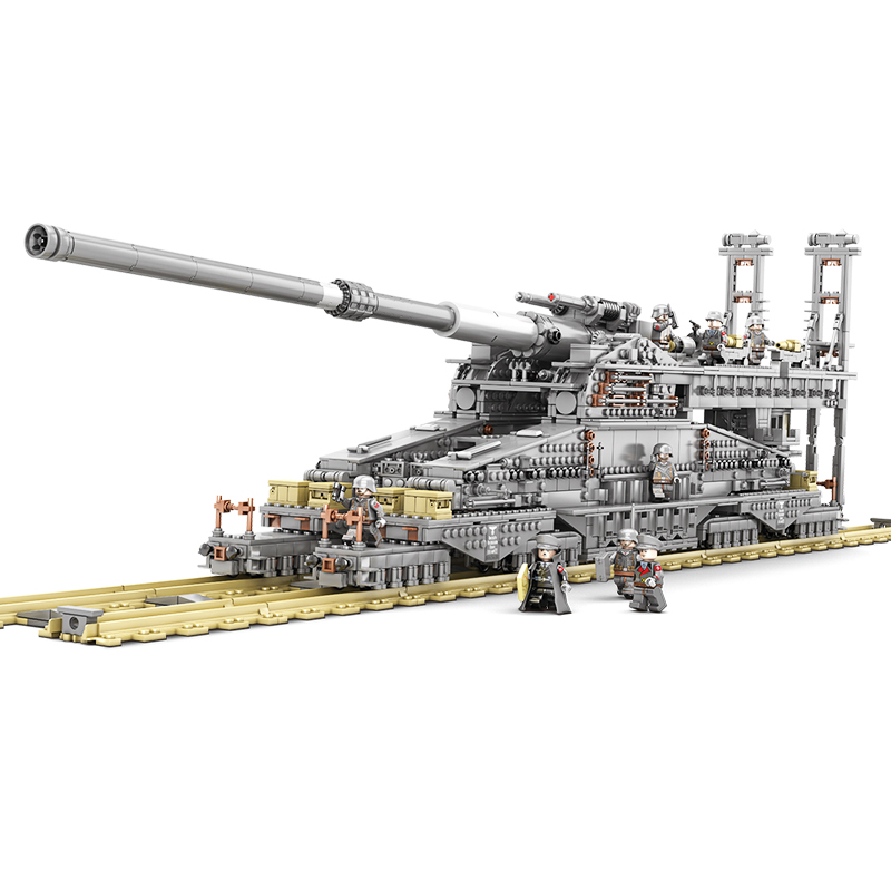 KAZI 10005 3846Pcs Building Blocks German 80cm K[E] Railway Gun