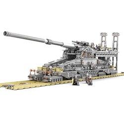 KAZI 10005 3846Pcs Building Blocks German 80cm K[E] Railway Gun
