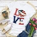 Женская летняя футболка с изображением американского флага, патриотической любви, губ, звезд, топы для женщин, женская одежда, женская футбо...