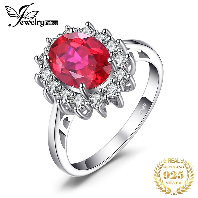 JewPalace Princess Diana- ն ստեղծեց Red Ruby Ring 925 ստերլինգ արծաթե օղակներ կանանց ներգրավման օղակի համար, արծաթ 925 Gemstones զարդեր