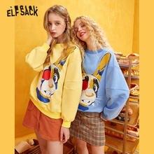 ELFSACK Gelb Solide Cartoon Drucken Casual Pullover Sweatshirt Frauen 2020 Winter Blau Koreanische Laterne Hülse Weibliche Täglichen Tops