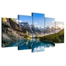Настенная живопись 5 шт озеро и горы Картина на холсте искусство