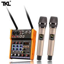 TKL Sound Mixing with UHF microphone Record 48V Phantom Power DJ mixer Monitor AUX Effects 4 Channels Audio Mixer USB BT