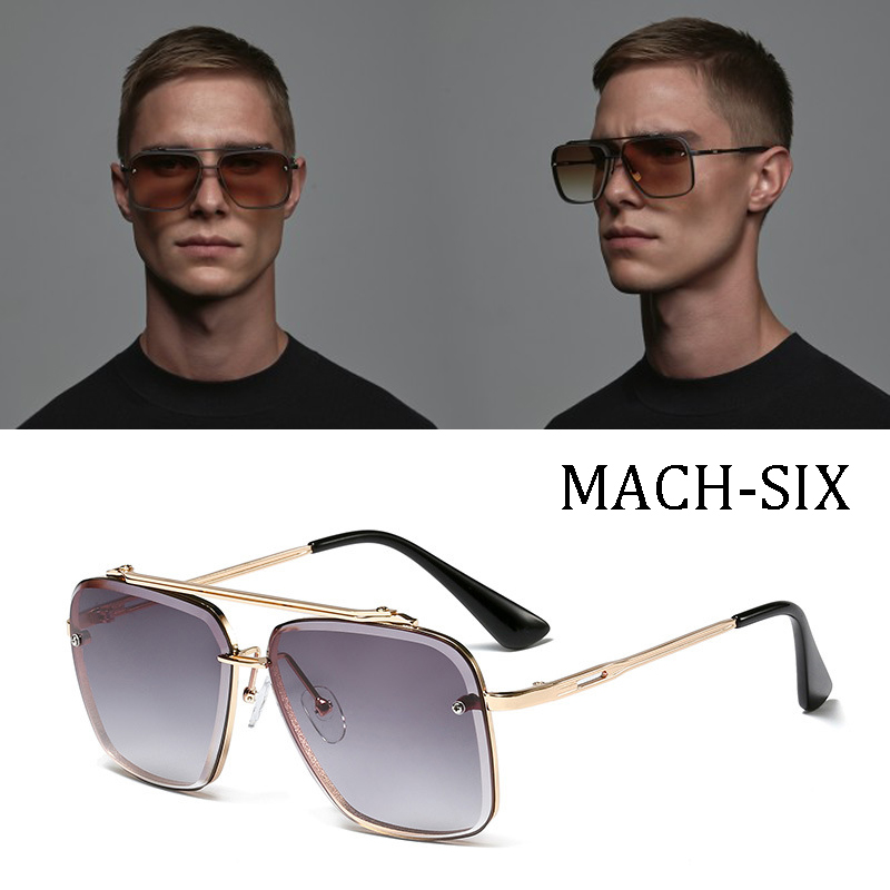 Luxury brand design Fashion Classic Mach Six Style Gradient lens Sunglasses Men Vintage Brand Design Sun Glasses Oculos De Sol image
