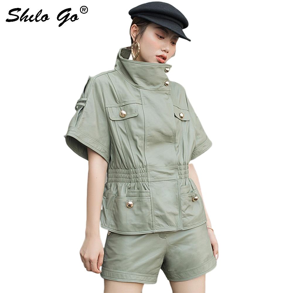 Veste en cuir véritable multicolore col goutte à manches courtes veste manteau femmes automne décontracté solide élastique taille haute Outwear