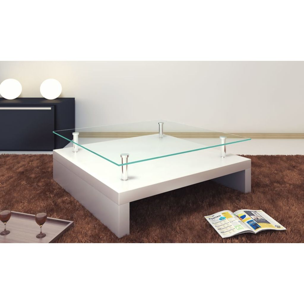VidaXL Coffee Table With Glass Top White