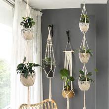 Hanging-Basket Planter-Hanger Flower-Pot Wall-Decor Handmade Macrame Garden Courtyard
