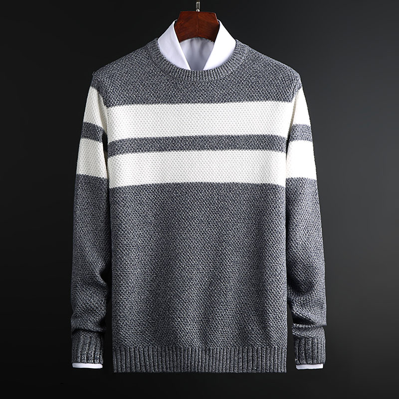 2019 New Fashion Sweater For Mens Pullovers O-Neck Slim Fit Jumpers Knitwear  Striped Winter Korean Style Casual Clothing Men