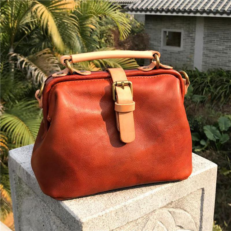Johnature Luxury Handbag Women Bags 2020 New Simple Soft Cow Leather Lady Shoulder Bags Vintage Solid Color Messenger Bag