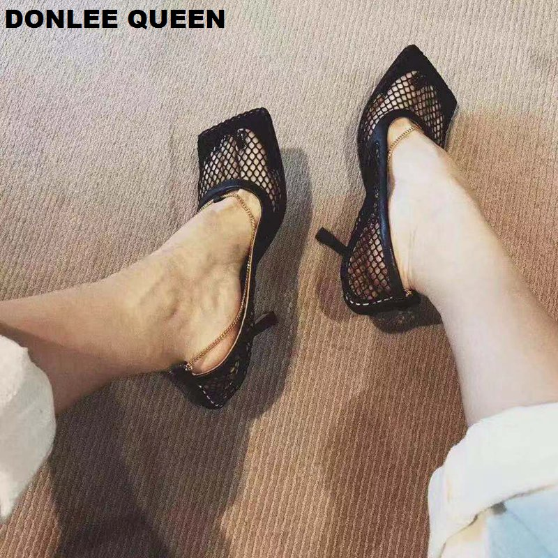 Fashion Square Toe Mesh Pumps Summer High Heel 7 Cm Shoes Chain Sexy Ladies Brand Shoes For Party Dress Sandals Zapatos De Mujer
