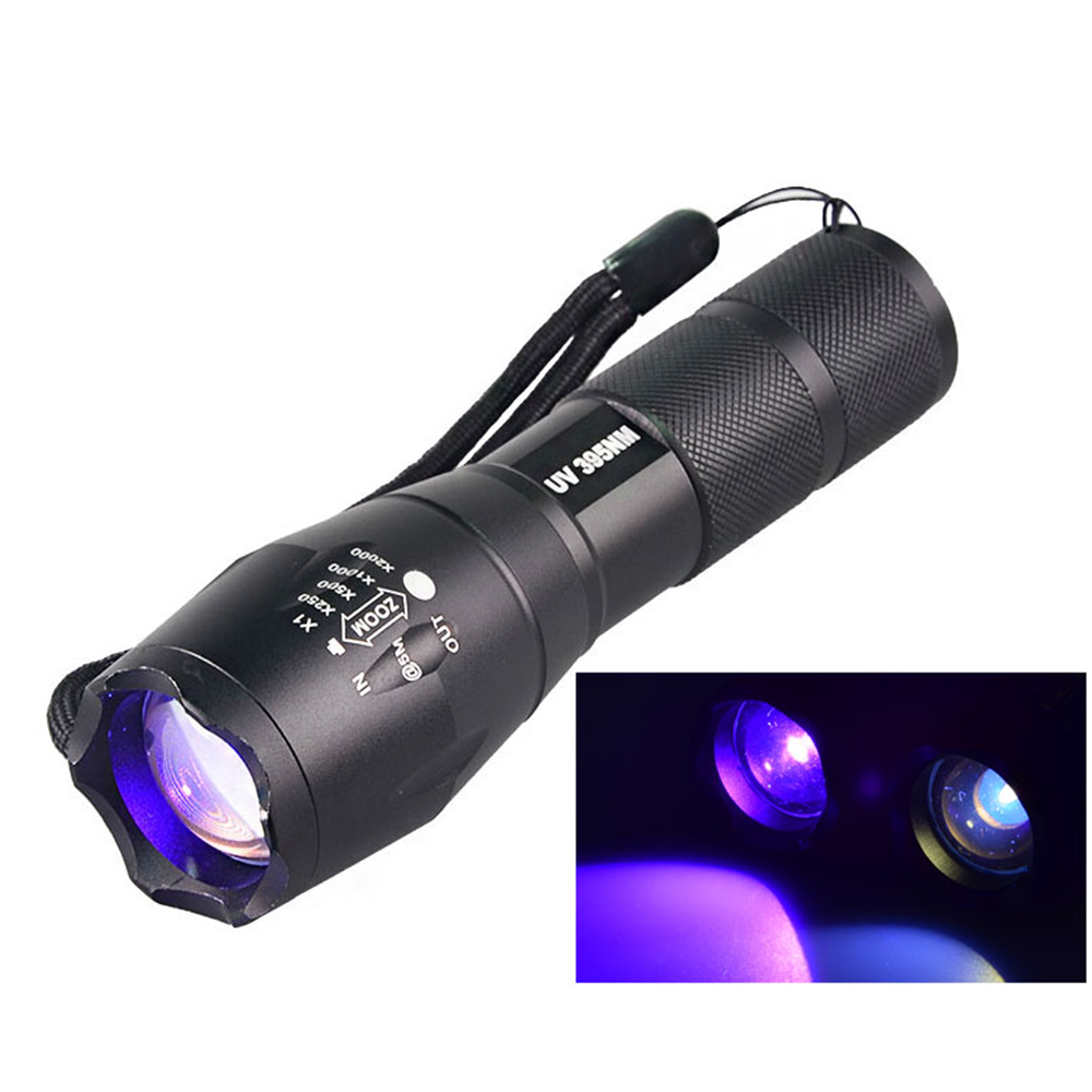 New Military Grade Tactical <font><b>UV</b></font> Electric Torch Ultraviolet <font><b>Flashlight</b></font> <font><b>UV</b></font> LED <font><b>365NM</b></font> <font><b>UV</b></font> <font><b>395NM</b></font> Detector Lamp for Scorpion Money image