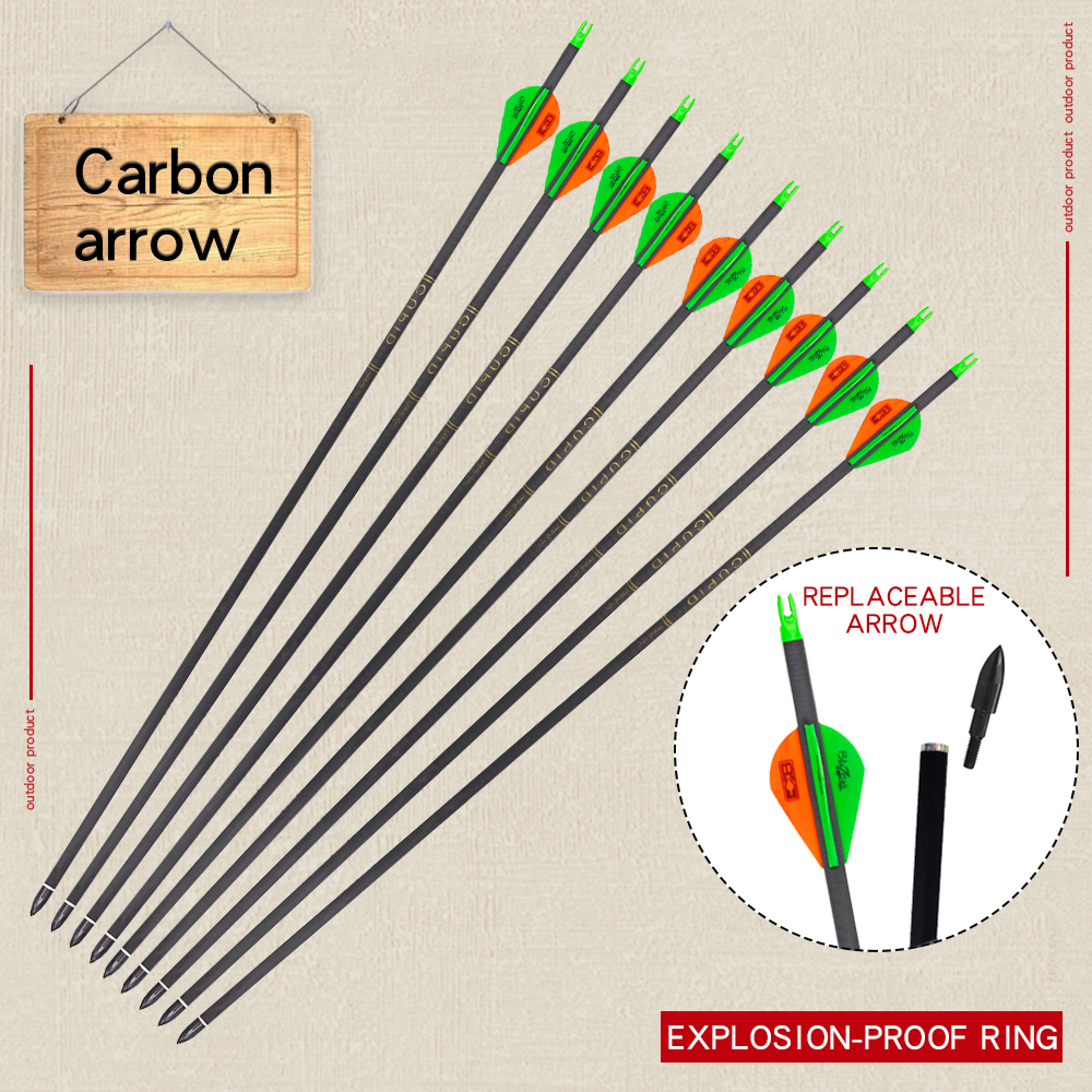 6/<font><b>12</b></font>/24pcs 32 inches Spine <font><b>300</b></font> Carbon Arrow Archery Hunting Accessories Green Arrow for Recurve/Compound Bows Shooting Practice image