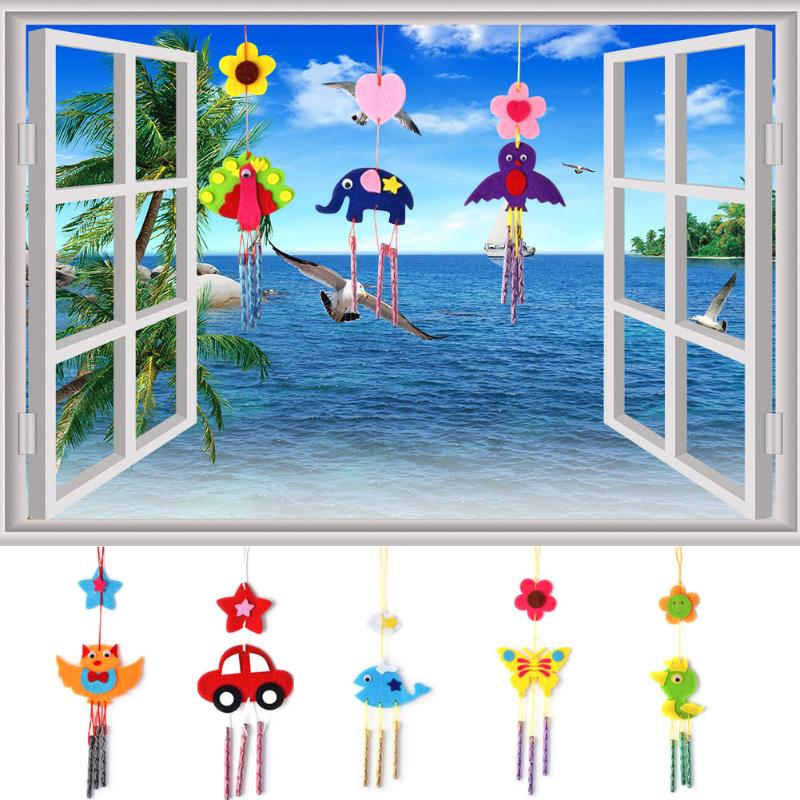 Kids Child DIY Wind Chimes Aeolian Bells Educational Puzzle Toys Craft Kits Handmade Felt Animals Plush Toys For Children Gifts