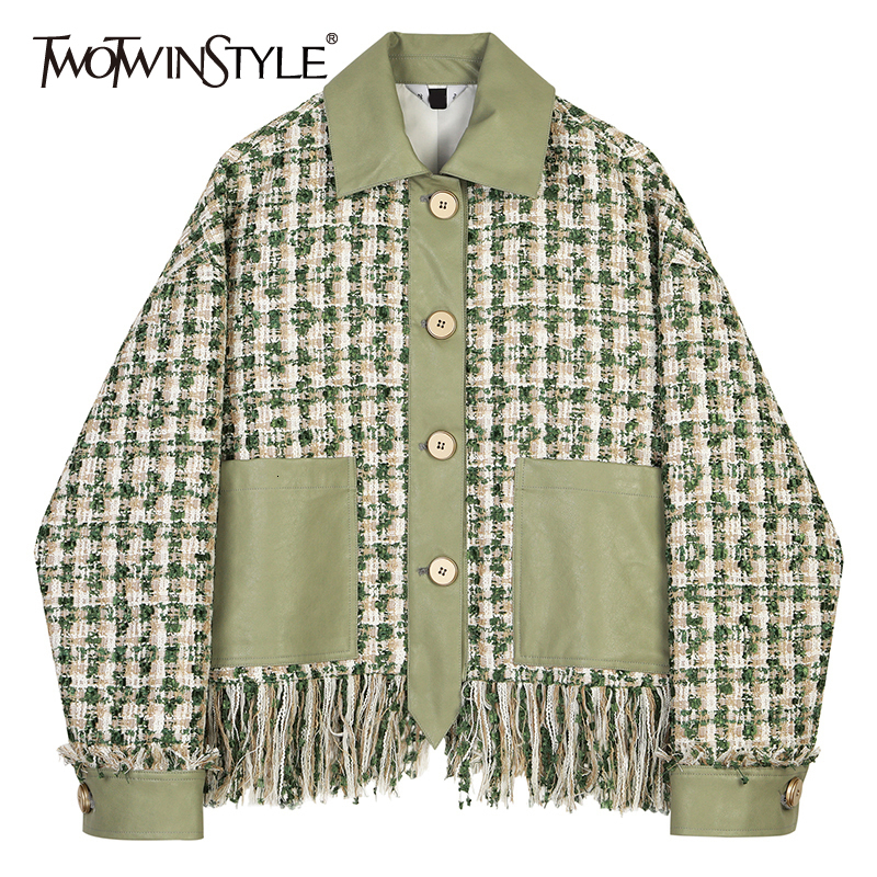 TWOTWINSTYLE Loose Fit Green Plaid Tweed Tassels Elegant Jacket New Lapel Long Sleeve Women Coat Fashion Tide Autumn Winter 2020