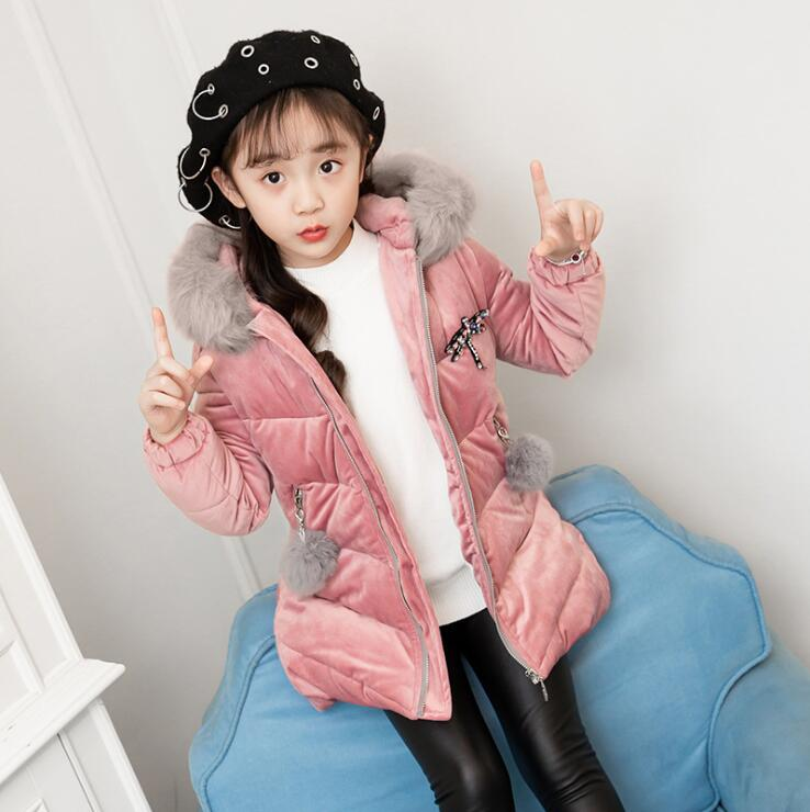 NEW Girl Winter Cotton-Padded Jacket Children's Fashion Coat Kids Outerwear Baby Girl Warm Coat Down Jackets Children Clothing