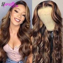 Upretty mel loira destaque peruca marrom peruca dianteira do laço vermelho 13x4 onda do corpo brasileiro peruca frontal do laço 1b 30 ombre peruca de cabelo humano