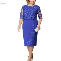Lace Plus Size Mother Of The Bride Dresses 2019 Scoop Neck Hal Sleeve Patchwork Wedding Guest Party Gown