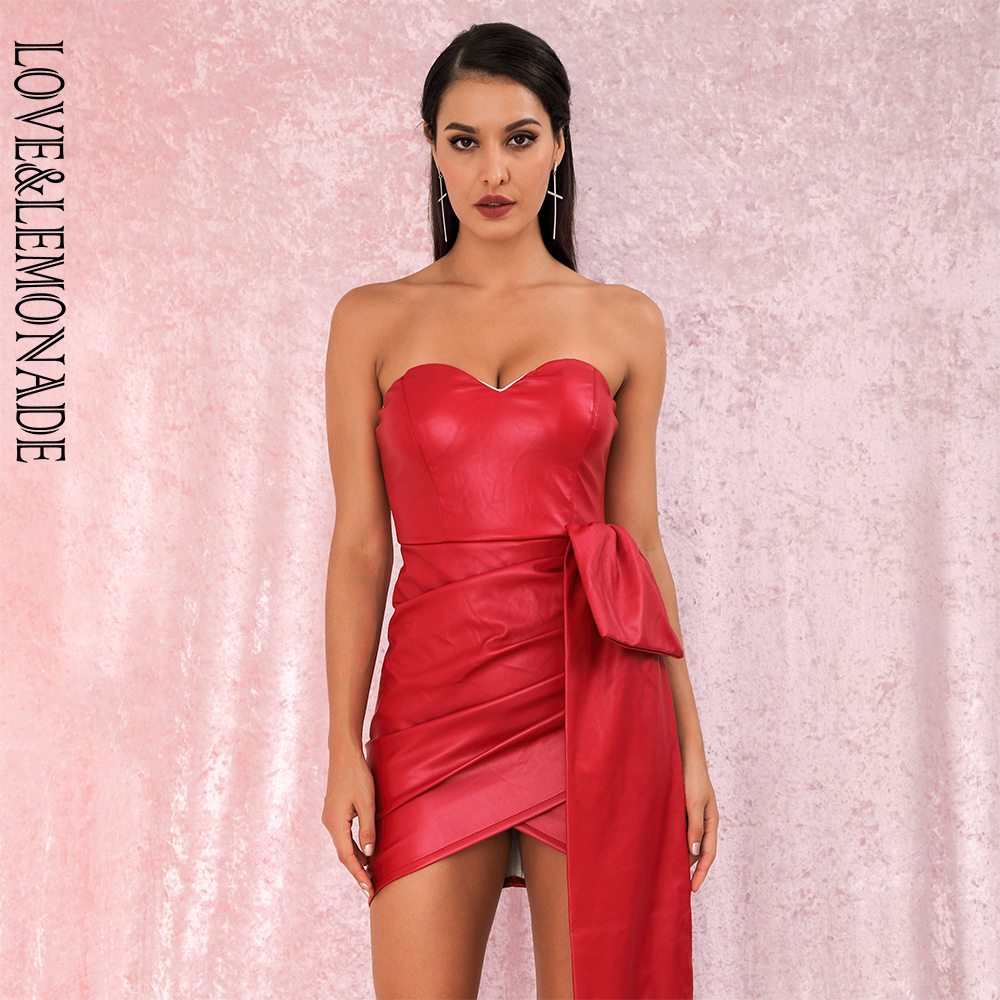 LOVE&LEMONADE  Red Bandeau V-Neck Double Streamers Cross PU Material Mini Party Dress LM82017 Autumn/winter
