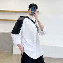 M-XL!Spring and summer abstinence department PU bandage design loose long sleeve shirt tide male function wind personality shirt