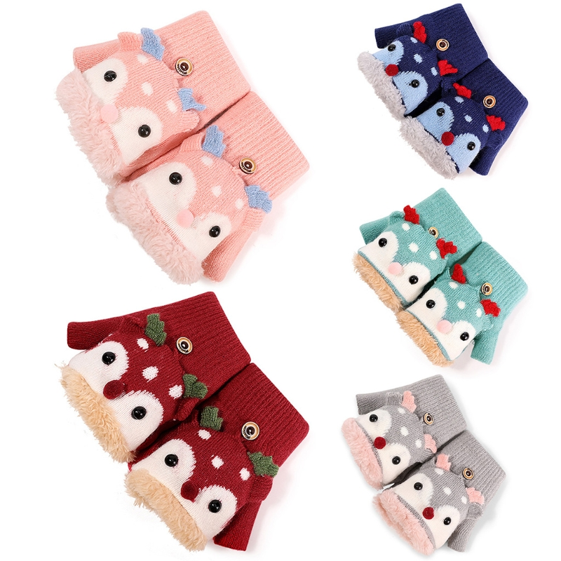 Toddler Kids Winter Knitted Flap Cover Convertible Gloves Christmas Cartoon Reindeer Thermal Warm Plush Lined Flip Top