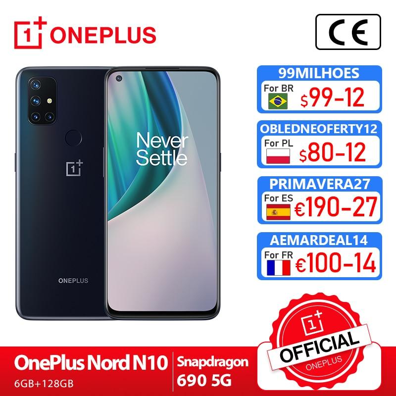 OnePlus Nord N10 5G OnePlus Official Store Мировая премьера глобальная версия 6 ГБ 128 Snapdragon 690 смартфон 90 Гц Дисплей 64MP Quad камеры Warp 30T NFC; code:P2PEPZFD(rub 2000-200)