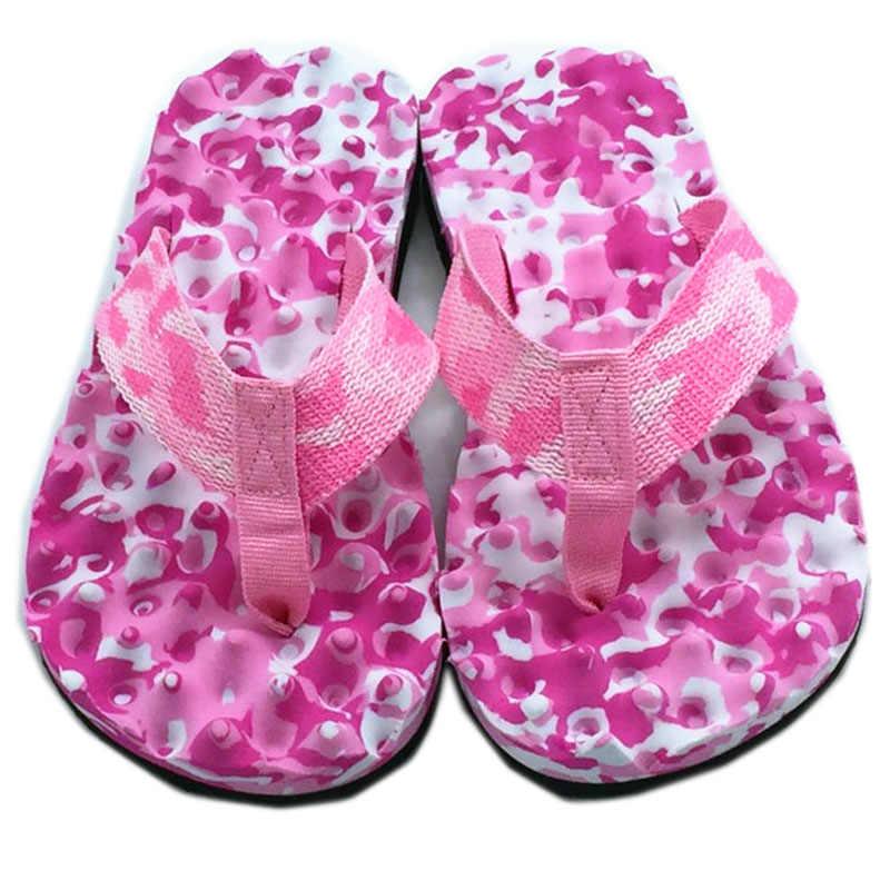 Mulheres Verão Flip Flops Massagem Camuflagem Apartamentos Sapatos Mulher Chinelos Em Casa Confortáveis Ue Tamanho 35/39 Sandálias Das Senhoras Lâminas de Praia