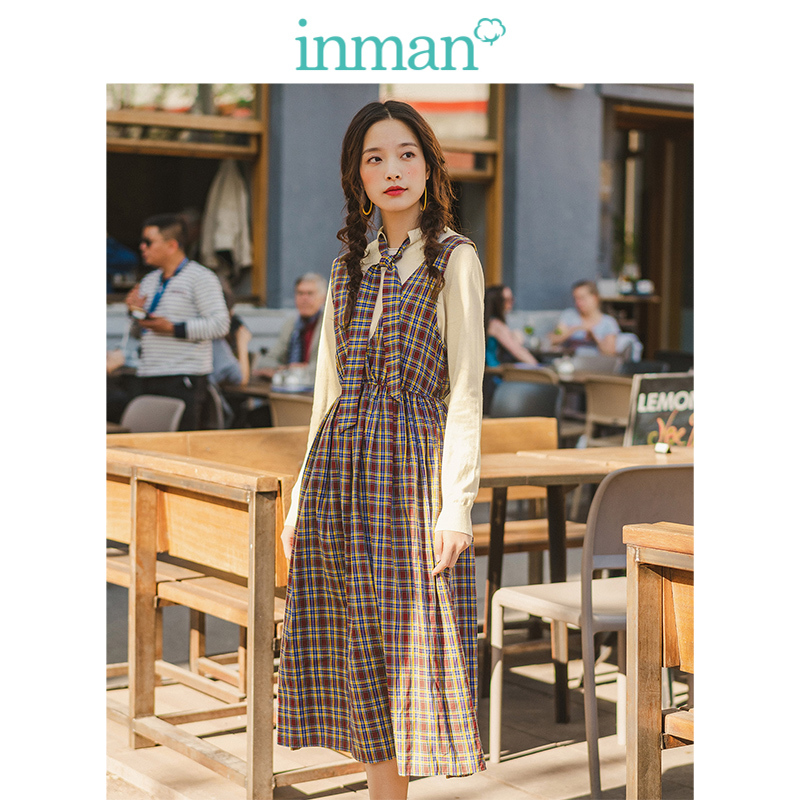 INMAN Spring Autumn Retro Plaid School Style Dress With Lacing Snit Sweater Women Two Pieces Suit