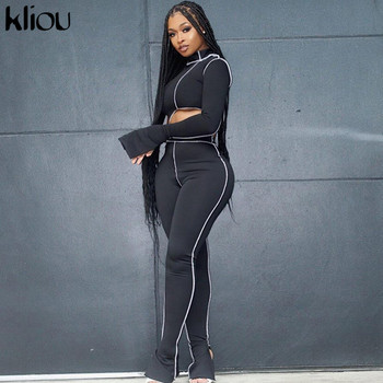 Kliou one shoulder solid  2 piece outfits flare sleeve asymmetry tops+sporty legging matching sets skinny female streetwear 1