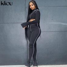 Kliou – Tenue ajustée aux épaules solides, 2 pièces pour femme, ensemble avec manches évasées, top asymétrique et legging sportif, vêtements assortis, style streetwear féminin et moulant