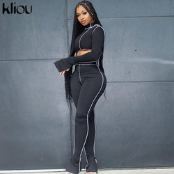 Kliou one shoulder solid  2 piece outfits flare sleeve asymmetry tops+sporty legging matching sets skinny female streetwear