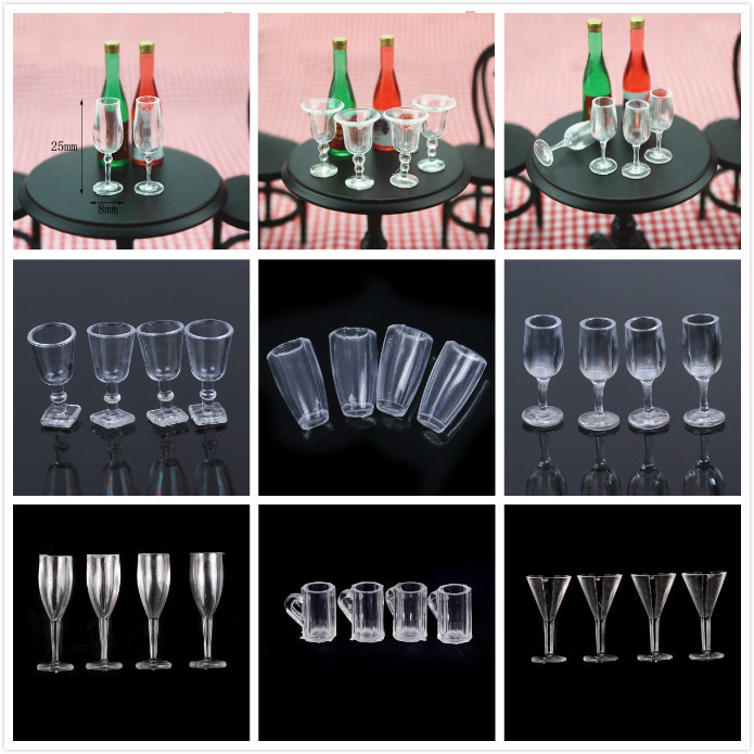 4Pcs 1/12 Dollhouse Cup Mini Resin Transparent Cup Simulation Furniture Model Toys For Dollhouse Miniature Accessories 20Styles