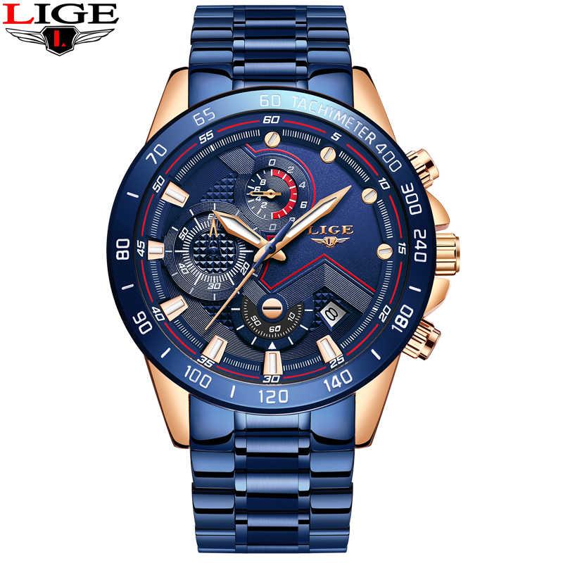 LIGE 2019 nowych moda męskie zegarki ze stali nierdzewnej Top marka luksusowe sport zegarek chronograf kwarcowy mężczyźni Relogio Masculino