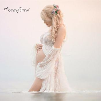 Lace Maternity Dresses Ruffles Slit Front Maternity Photography Gown Maxi Pregnancy Photography Dress Maternity Maxi Dress цена 2017