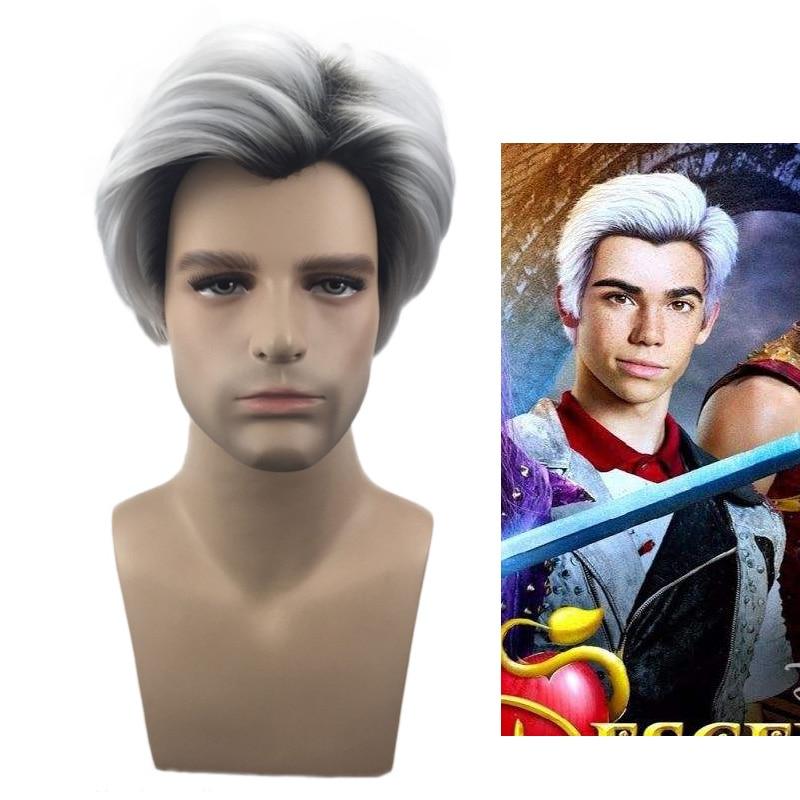 Movie Descendants 2 Carlos 28cm 11 inches Cosplay Wigs For Men Short Wig Heat Resistant Black Grey Synthetic Hair + Wig Cap