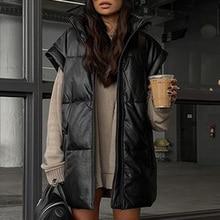 Fandy Lokar Spring Stand Collar Black Vests Women Fashion PU Coats Women Elegant Straight Simple Vests Female Ladies