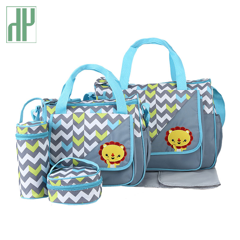 5pcs Baby Diaper Bags For Mom Changing Nappy Bag Sets Mommy Baby Care Carriage Stroller Bag Organizer 30*43*14cm