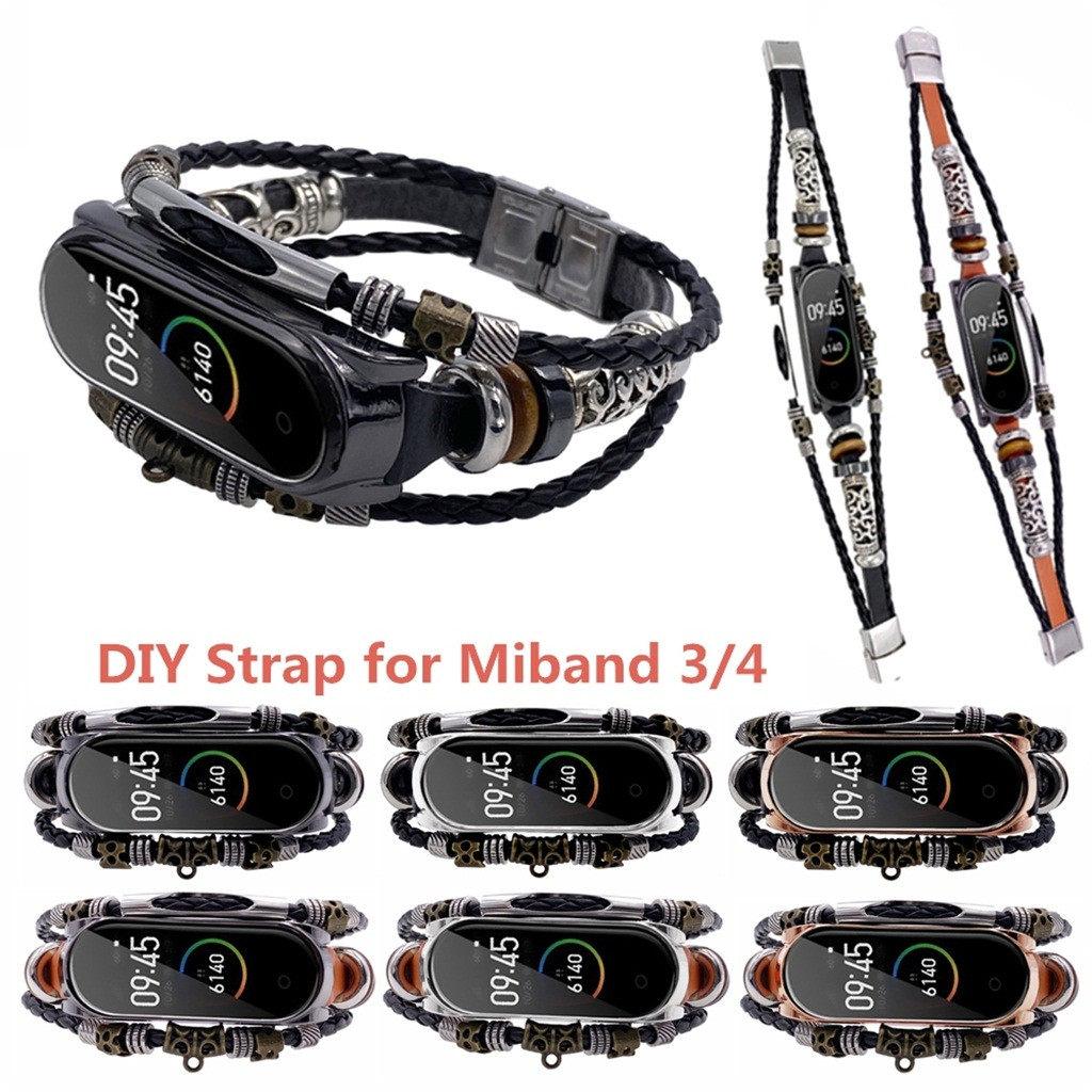 HIPERDEAL Fashion Vintage Leather Beading Bracelet Strap Weave Braideds Watch Band Replacement For Xiaomi Mi Band 4