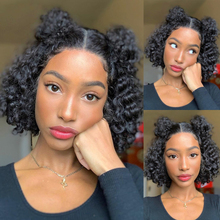 Lace Wigs Human-Hair-T-Part Short-Bob Curly Pre-Plucked Brazilian Deep-Part Remy 180-%