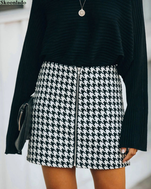 Newest women Plaid skirt autumn new style commuting houndstooth skirt A-line length lady short skirt good fashion women clothes