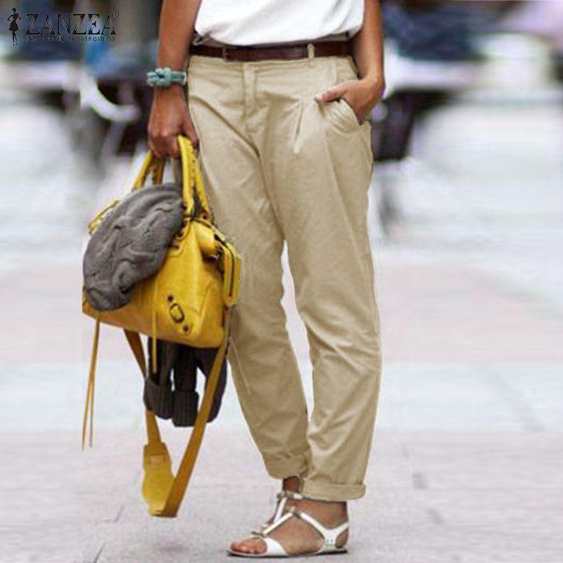 ZANZEA 2020 Fashoin Overall Pants Women's Summer Trousers Casual Button Down Front Long Sweatpants Female Cotton Pantalon 5XL