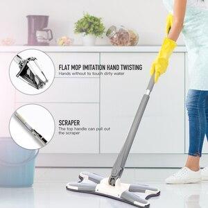 Image 3 - Mop a mano libera lavaggio a pavimento piatto facile da strizzare cuscinetto di ricambio in microfibra per cucina domestica Kit di Mop bagnato e asciutto laminato in legno duro