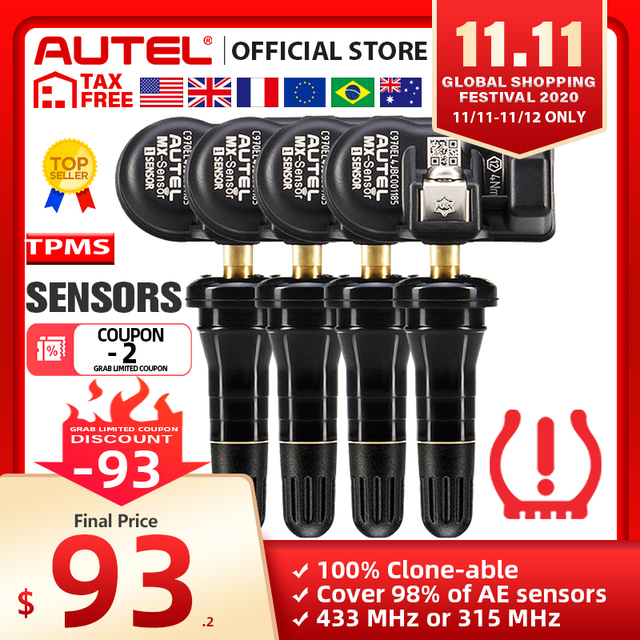 Autel MX Sensoren 433 MHz 315 MHz Sensor Programmierer TPMS PAD TS401 TS601 Doppel Frequenzen 2 in 1 Autel sensoren Reifen Analyse