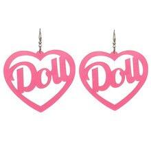 Night Club Long Bling Hot Pink Heart Earrings for Women Shiny Letter Dou Drop Acrylic Big Earring Jewelry Pendientes Grandes цена 2017