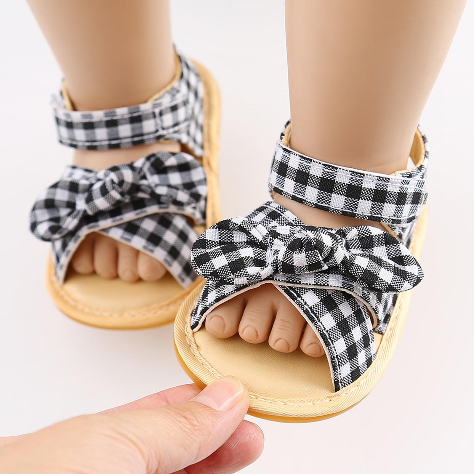 Infant Boys And Girls Plaid Sandals Non-slip Rubber Sole Summer Flat Shoes Soft Sole Sandals First Walking Shoes обувь для детей