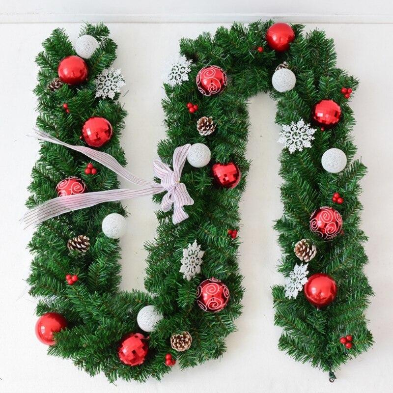 Guirlande de rotin suspendue artificielle guirlande de noël 2.7M avec arc flocon de neige ornements de boule de noël pour la maison Vianocne Dekoracie